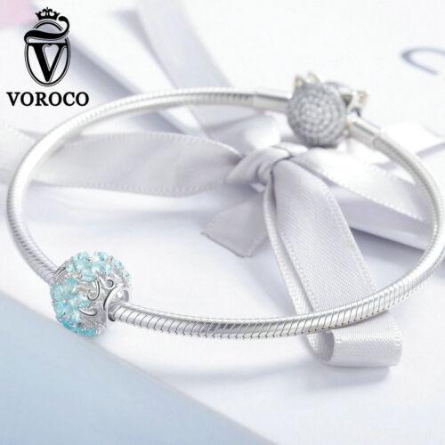 Voroco Argent Sterling 925 Beauty Flocon de neige Pendentif Bracelet Breloque Collier