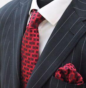 Hommes Cravate & Mouchoir Lot Rouge & Noir Carrés Luc236-afficher Le Titre D'origine