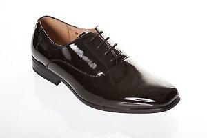 Zapatos De Vestir hombres Ex Hire Negro Patente Tallas 6 7 8 9 10 11 12