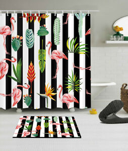 Details About Flamingo Cactus Fabric Shower Curtain Set 180cm Tropical Bathroom Curtains Liner