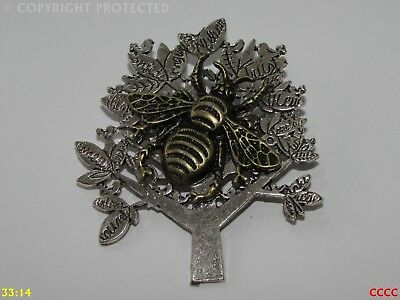 Steampunk broche insignia con Pin Plata miel Bumble Bee Bronce COGS Manchester #PM23
