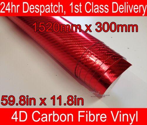 59,8 en 4d De Fibra De Carbono Vinilo Wrap película Cromo Rojo 300 mm 11,8 pulgadas x 1520mm