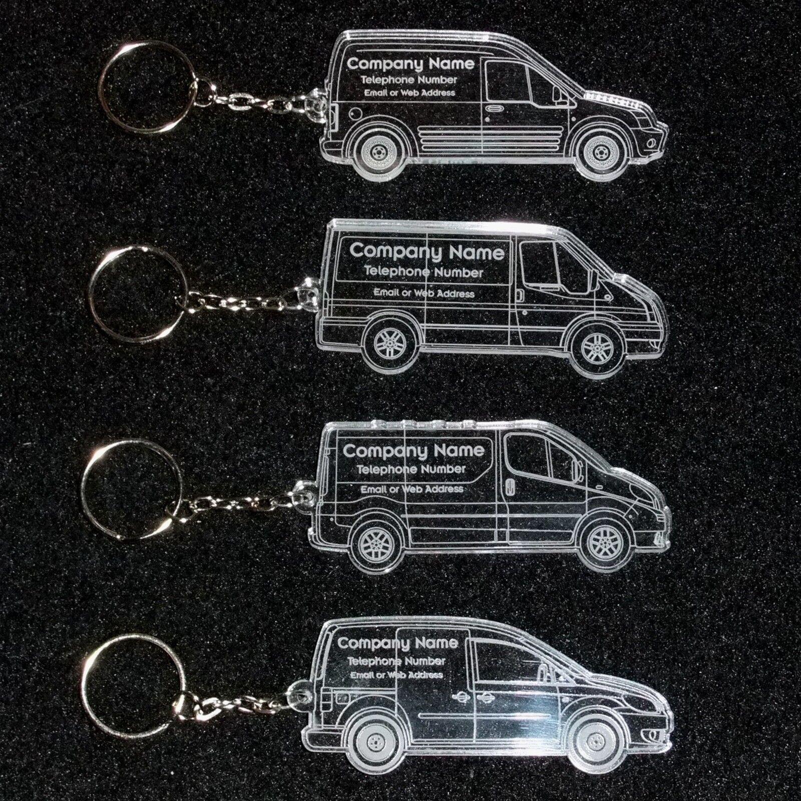 Personalised Acrylic Van Shape Business Keyrings   Laser Cut U0026 Engraved