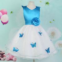 BLUE Fairy+ Princess Flower Girls Party Wedding Bridesmaid Prom Dresses Age 7-12