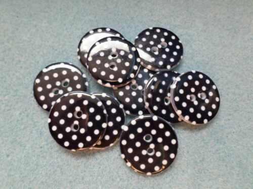 Polka Dot 23mm Round Various Colours Available 10 x 2-Hole Resin Buttons