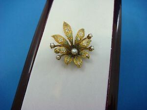 !VICTORIAN BEAUTIFUL SMALL FLOWER BROOCH WITH MULTI-COLOR ENAMEL AND PEARLS