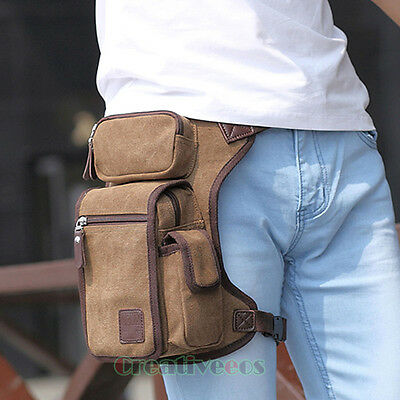 Men's Canvas Tactical Motorcycle Riding Hip Fanny Pack Waist Thigh Drop Leg Bag
