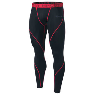Fitness, Running & Yoga Audacious Tesla Mup19 Cool Dry Contour-stitching Compression Pants Black/red