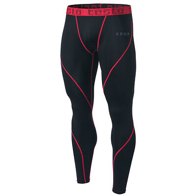 Black/red Reputation First Tsla Tesla Mup19 Cool Dry Contour-stitching Compression Pants Activewear Men's Clothing