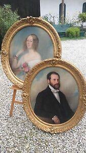 Gemaelde-Portrait-Dame-und-Herr-Biedermeier-Ol-auf-Leinwand-ovaler-Rahmen