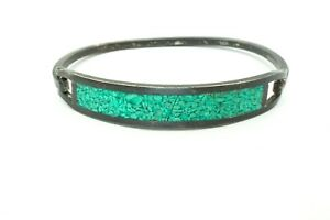 Vintage-Mexico-Sterling-Silver-925-Crushed-Turquoise-Hinged-Bangle-Bracelet-6-5-034