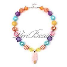 Ice Cream Pendant Chunky Gumball Bubblegum Solid Beads Necklace Girl Kid Jewelry