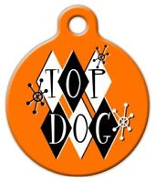 Retro Top Dog - Custom Personalized Pet Id Tag For Dog And Cat Collars