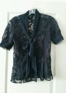 be0665a7 White House Black Market Black Lace Blouse Short Sleeves Ties in ...