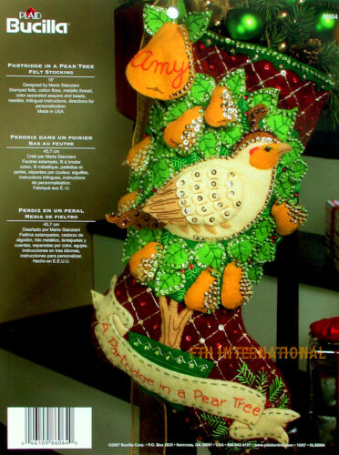 Bucilla 12 Days of Christmas ~ 18 Felt Stocking Kit #86064 Partridge Pear Tree