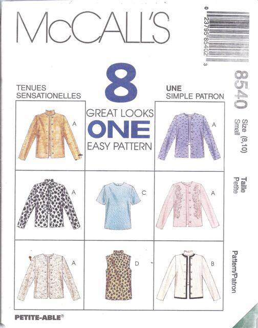 8540 UNCUT McCalls SEWING Pattern Unlined Jacket Top FF OOP Easy 8 Looks SEW VTG