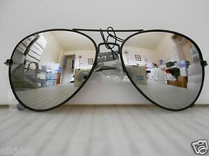 aviator mirror sunglasses  Aviator Mirrored Sunglasses Large Silver Mirror Lenses Black Frame ...