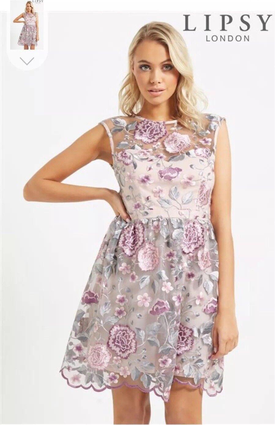 Bnwt New Women Lipsy Next Lace Flowers Wedding Party Evening Dress Size 8