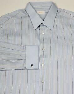 Brioni-Actuel-Glace-Bleu-Raye-Contrastant-Col-Manchette-FC-Robe-Shirt-44
