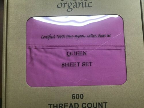 4pcs 100/% Organic Cotton Set 600 TC,Dark Pink Queen