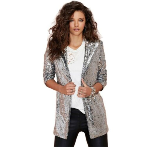 Long Manteau Party Femme Sequin Cardigan Brillant Irisé Pailleté Veste I86nwYq48