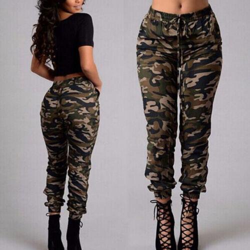 Damen Camouflage Jogging Harem Hosen Cargohose Camo Military Hip Hop Stoffhose