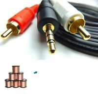 5ft 3.5mm Stereo Jack to 2x RCA Twin Phono Male Cable TV PC Aux Audio Red White