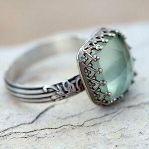 Women-925-Silver-Gemstone-Vintage-Peridot-Vintage-Moonstone-Wedding-Ring-Sz-6-10