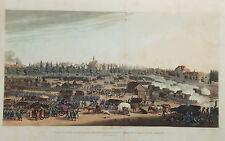 Leipzig  Sachsen Völkerschlacht  altkolorierter  Aquatinta Kupferstich 1815