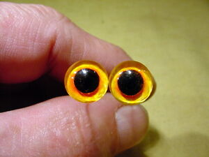 a pair vintage solid Glass Eyes size 10 mm teady bear taxidermy age 1910 Art A77