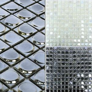 Details Zu Glasmosaik Fliesen Accra 3d Rund 10 Matten Wandfliesen Bad Küchenfliese Spiegel