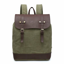 4c8731b59c72f Canvas Faux Leather Backpack Black Coffee Army Green Rucksack Travel  Festival UK