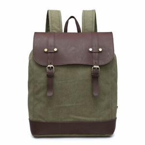 NEW Canvas Black Backpack Army Rucksack Bag Travel Festival Laptop Student UK
