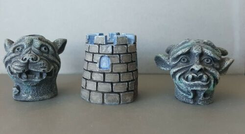 Butt Headz Cigarette Ashtray Snuffer Gargoyle Castle Set Of 3 Heads
