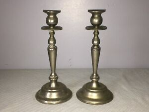 PAIR-OF-SILVER-PLATED-TWELVE-INCH-TALL-SINGLE-CANDLE-STICK-HOLDERS