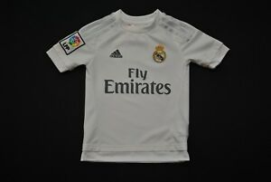 1824a42203a Real Madrid Adidas Soccer Jersey Youth XS White Fly Emirates La Liga ...