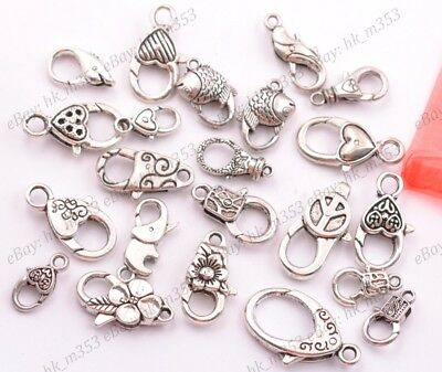 50pc Tibetan Silver Heart Lobster Claw Clasps Lead Free Jewelry Making 25.5x14mm