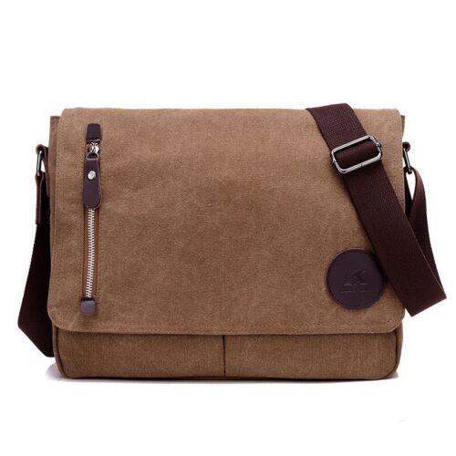 New Men/'s Vintage Canvas Schoolbag Satchel Shoulder Messenger Bag Laptop Bags