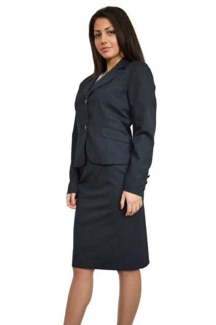 Designer Ladies Graphite Grey 2 Piece Skirt Blazer Office Work Suit 10 12 14 16