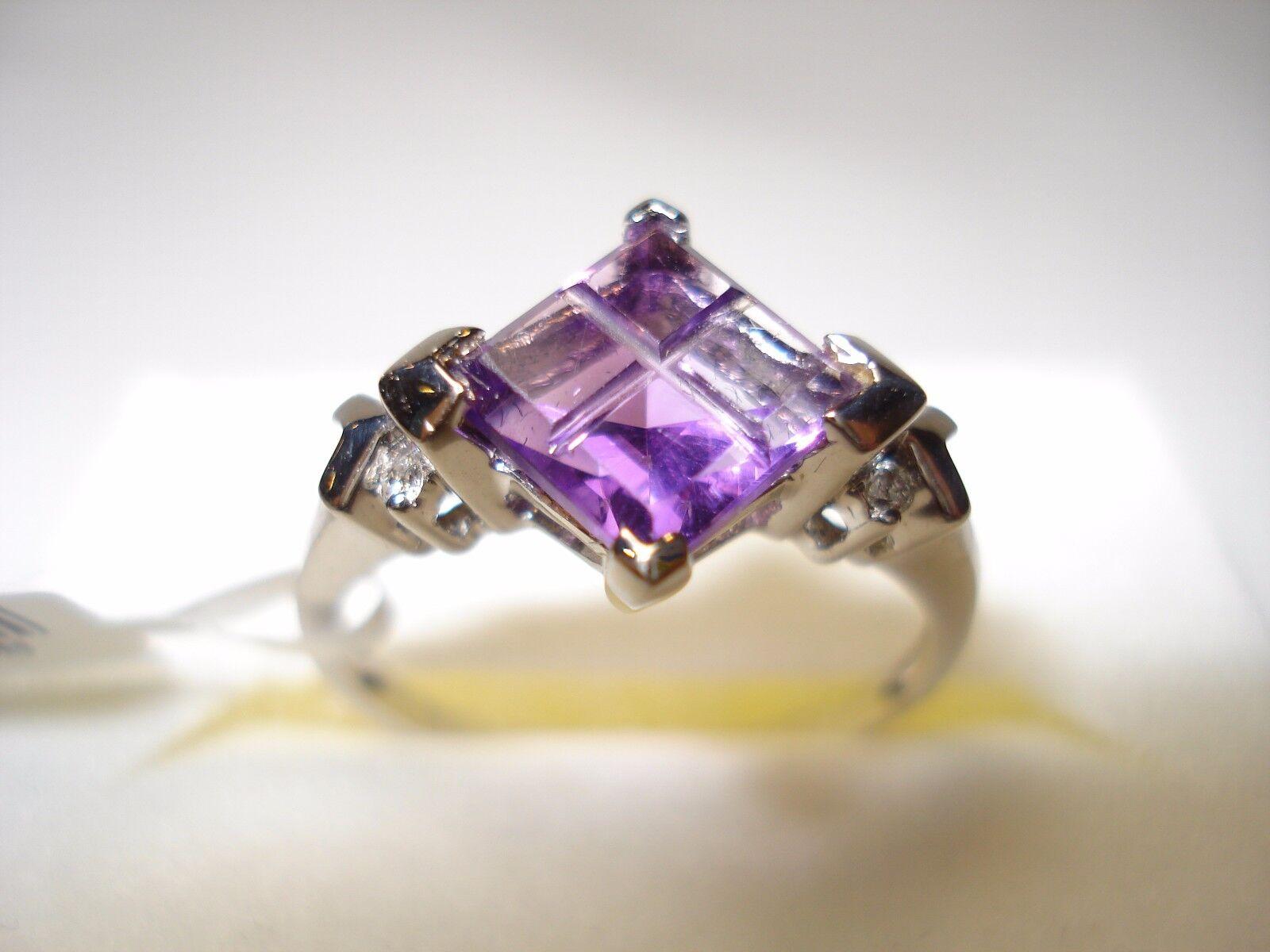 14K diamond  Amerthyst Ring