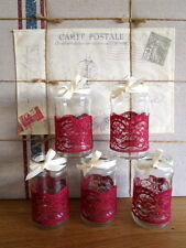 10 Vintage Glass Jars Vases Centre Pieces Burgundy Red Maroon Chic Wedding Lace