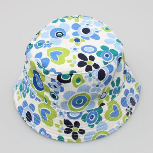 Toddler Baby Kid Boy Girl Floral Pattern Bucket Cotton Hat Sun Helmet Cap Flower