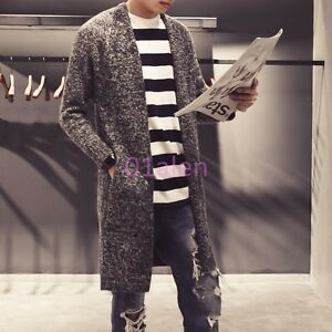 Korean Vogue Long V-Collar Hot Cardigan Slim Men Woolen Coat