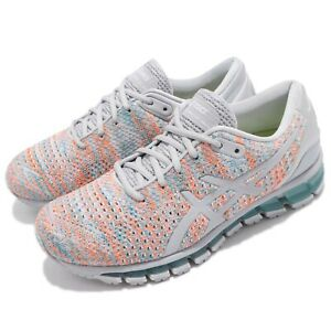 Asics-Gel-Quantum-360-Knit-2-II-Grey-Orange-Blue-Women-Running-Shoes-T890N-9609