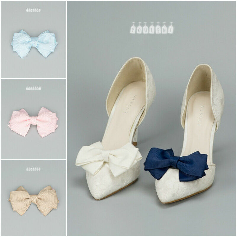Lady Detachable Bow Shoe Clip High Heels Ribbon Decoration Charms Pair Accessory