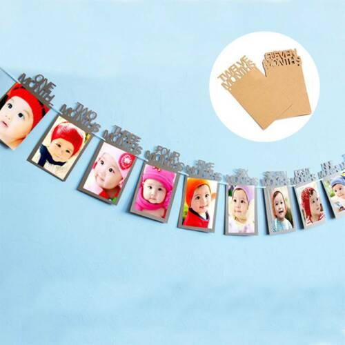 1st Years Old Happy Birthday Banner 12 Months Bunting Garland Picture Frame