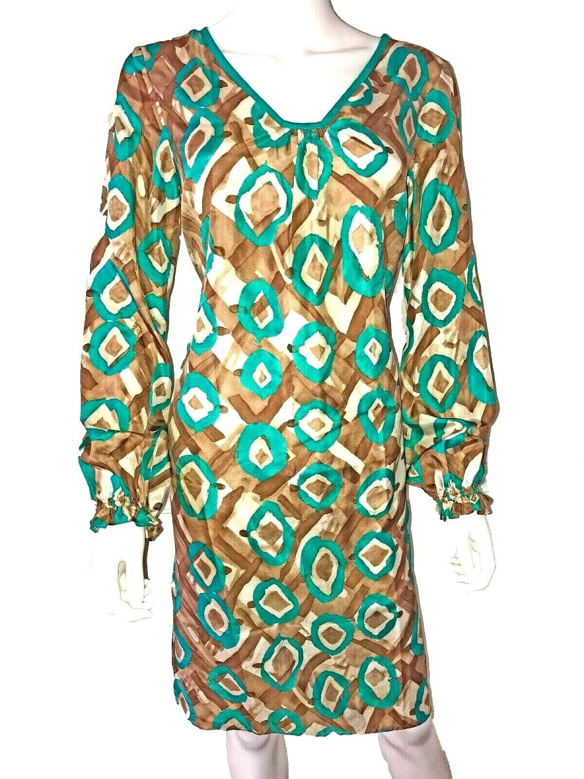 Oscar de la Renta Oscar Dress. Größe 6. Silk Polyester Teal Grün. Long-sleeves