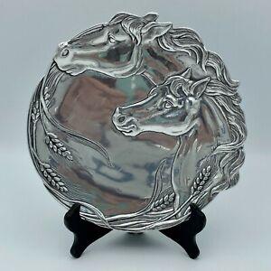"Arthur Court Horses & Wheat Aluminum Cheese Decorative Plate 7-3/4"" 2001 HTF"