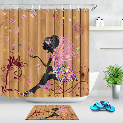 Girl and Friend Time Bathroom Waterproof Fabric Shower Curtain Hooks Mat Set 72/""