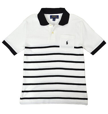 de39fb0fd Polo Ralph Lauren Boys Kids White Black Striped Polo Shirt M Medium 10-12  9095